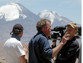 BBC Top Gear Bolivia Special - BBC Filming crew and presenter Jeremy Clarkson on the slopes of Guallatiri Volcano shooting BBC Top Gear Chile Bolivia Special, Altiplano, Chile