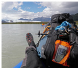 Packrafting at Andres river, Aisen, Patagonia, Chile
