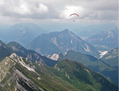 XC paragliding in Julian Alps from Slovenia to Italy, Mt. San Simeone and Tagliamento river, Gemona del Friuli - Slovenia 2012 - The joy of XC - Paragliding Adventure Tour in The European Alps - Soca Valley, Slovenia, June 2012